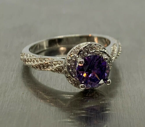Details about  /925 Sterling Silver Amethyst Cubic Zirconia Accent Solitaire Ring Size US 6.