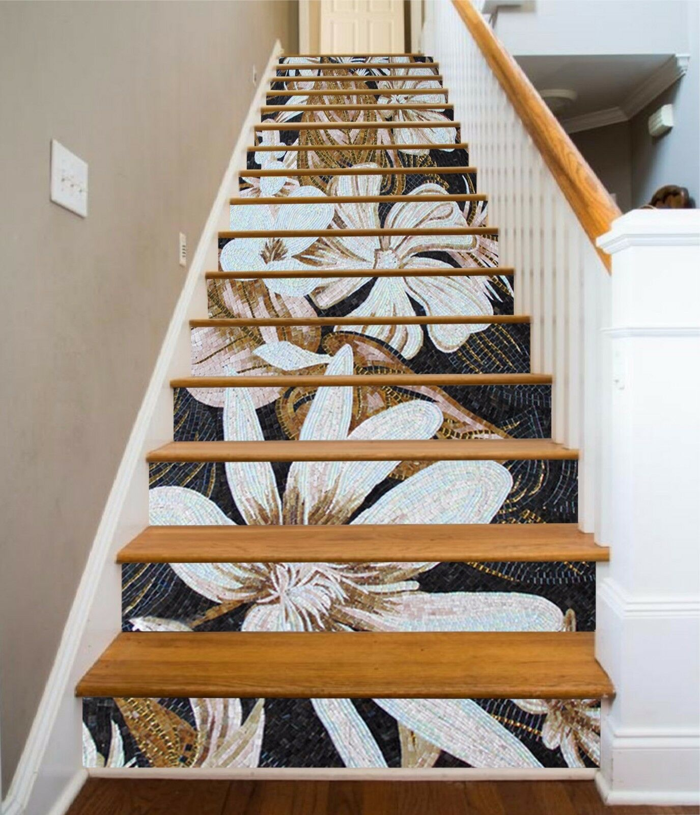 3D Metal Pattern 1 Stairs Risers Decoration Photo Mural Vinyl Decal WandPapier US