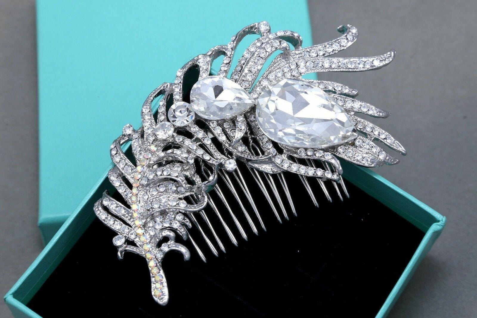 Silver Crystal Wedding Bridal Feather Leaf Hair Comb Hair Accessories