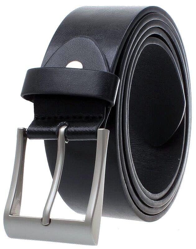 Echt Jeans-Gürtel Damen Herren Leder Hosen Gürtel Eckig Schnalle Schwarz 4 cm