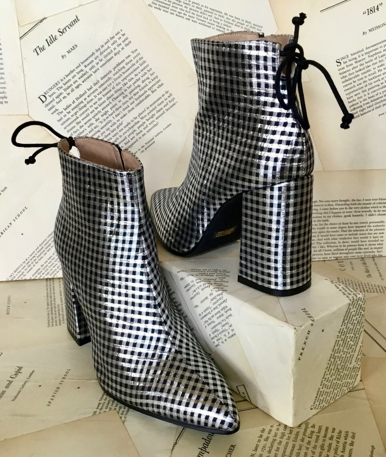 NEW Anthropologie black silver Checked Silk Back Tie Block Heel Ankle Boot 38