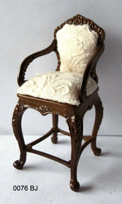 JBM Miniatures 0076BJWN Dollhouse Barstool - Walnut - 1 12 Scale FREE SHIP