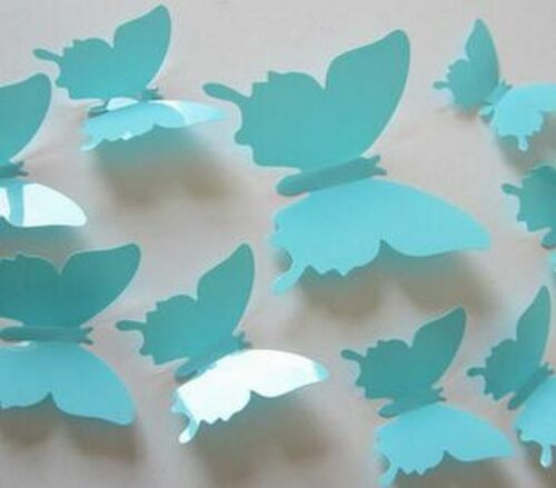 12pcs//set 3D Creative Black Butterfly Wall Stickers PVC Flower Butterfly Wall