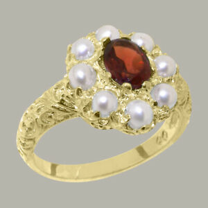 Solid-14ct-Yellow-Gold-Natural-Garnet-amp-Pearl-Womens-Cluster-Ring-Sizes-J-to-Z