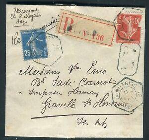Adroit Lettre Du Havre En Recommandé Pour Graville Ste Honorine En 1911 - Réf M124 Brillant