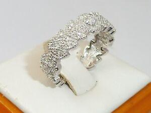 Damen-viktorianischen-Design-Sterling-925-Silber-weissen-Saphir-Eternity-Ringe