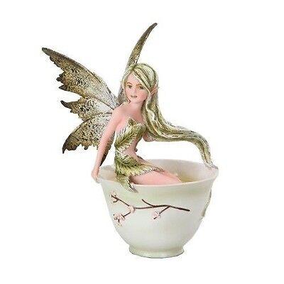 "Amy Brown Fantasy Green Tea Fairy Sitting in Tea Cup Figurine Statue 5.75"" Tall"
