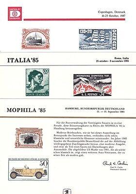 Motive Post & Kommunikation Aus Dem Ausland Importiert Usa 3 Souvenir-cards Von Briefmarkenausstellungen 1985-87