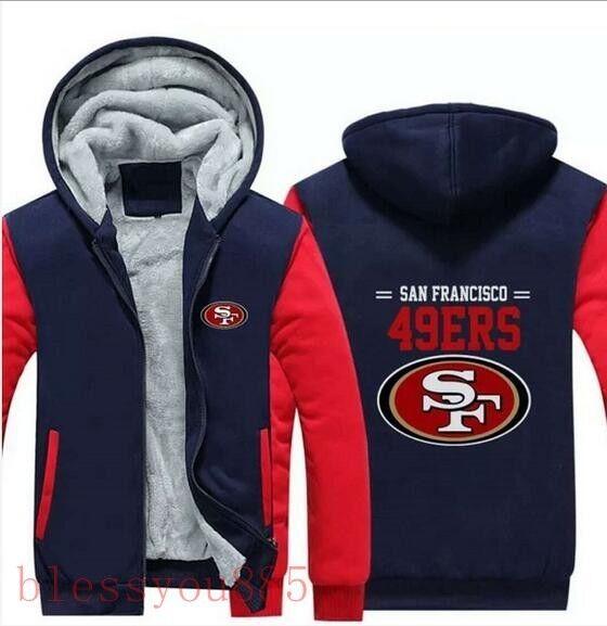 Hiver Homme San Francisco 49ers équipe de football Zipper épaissir Sweat à capuche veste chaude