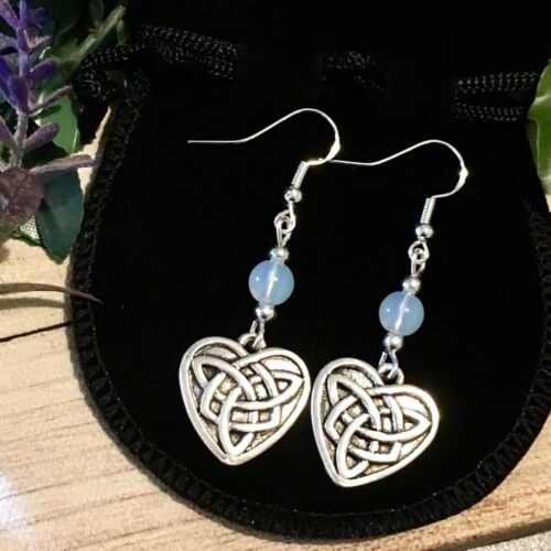 Moonstone 925 Silver earrings Celtic Wiccan vintage witch pagan Valentine's Day