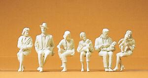 Preiser 45179 Seated People, 6 Unpainted Figures, For LGB, 1:22,5