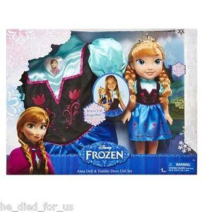 Disney Frozen Anna Doll & Toddler Dress Gift Set Size 3T 4T FREE SHIPPING!