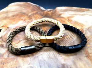 Segeltau-Armband-8mm-NEU-Beige-Braun-Magnetverschluss-Handmade-Herren-Frauen
