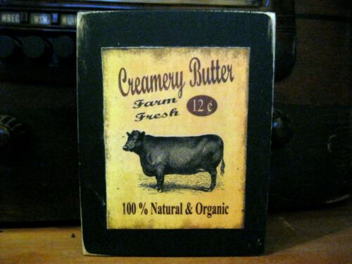 Creamery Butter Cow Farmhouse Primitive Rustic Wooden Block Shelf Sitter 3.5X4.5