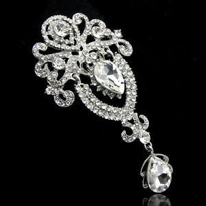 Silver-Large-Flower-Bridal-Brooch-Rhinestone-Crystal-Diamante-Wedding-Broach-Pin