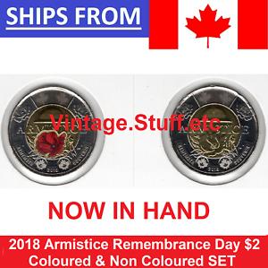 100th 2018 Canada $2 Armistice Coloured & Non Color Rememberance Poppy UNC
