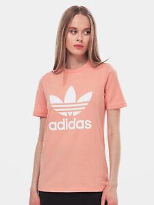 Womens ADIDAS ORIGINALS TREFOIL tshirt top PINK Authentic STRETCHY ...