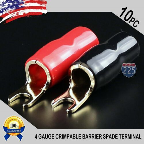 4 Gauge Gold Spade Fork Terminal 10 pack Wire Crimp Insulated 5//16 connector AWG