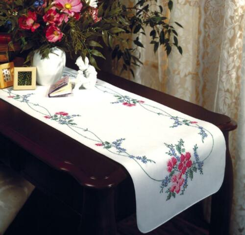 TOBIN Dresser Scarf Table Runner STAMPED FOR EMBROIDERY Wild Rose