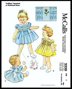 McCall-039-s-2320-Fabric-Sewing-Pattern-Girl-039-s-Cute-Smocked-or-Gathered-Dress-Pick