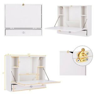 Details About Floating Desk Folding Wall Mounted White Computer Shelves Drawer Hideaway