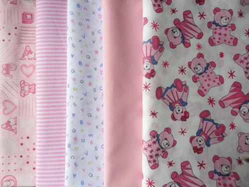 Baby tissu fat quarters bundle de 5 roses