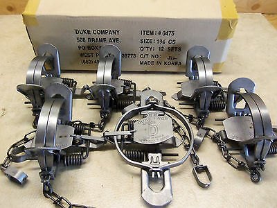 6 Duke # 1 3/4 (1.75) Coil Spring Traps  Raccoon Coyote Bobcat Badger 0475