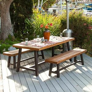 Rustic Industrial Design Indoor Wood Picnic Table Set