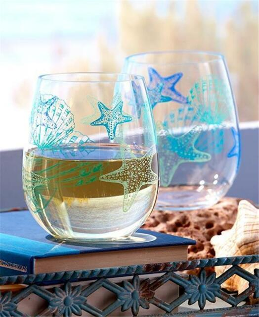 SET OF 2 DURABLE ACRYLIC BEACH SEASHELL THEMED STEMLESS WINE GLASSES 16 OZ.