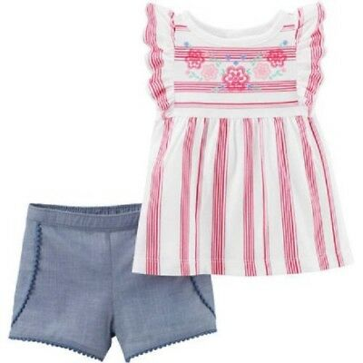 Candy Stripe Floral Top Short Set 12 M 24 M 18 M Carter/'s Toddler Girls 2 Pc