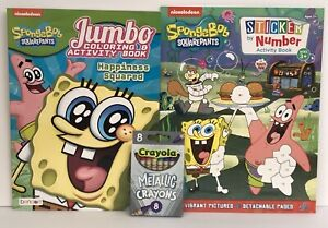 3-Sponge-Bob-Square-Pants-Coloring-amp-Sticker-by-Number-Books-amp-Metallic-Crayons