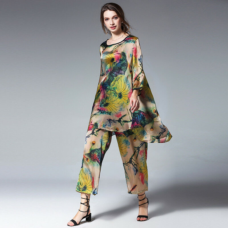 Womens Plus size Casual suits loose print silk Elegant two piece tops and pants