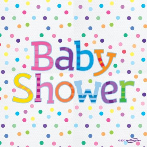 16 pack BABY SHOWER SPOTTY SERVIETTES NAPKINS TABLE PARTY 33CM 2 PLY 635623