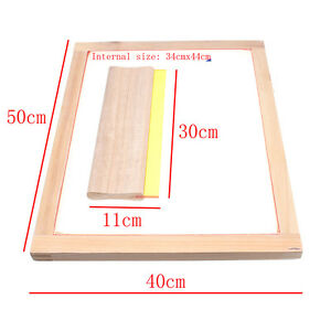 """A3 Silk Screen Printing Wooden Frame W/43T Print Mesh & 12"""" Wooden Squeegee"""