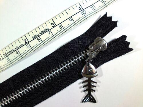 YKK Closed End Metal Black Fish Bones Puller Zip Zipper