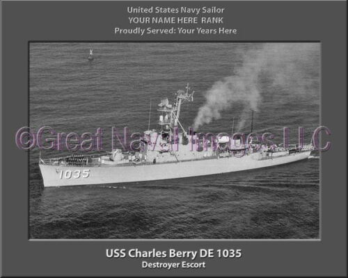 USS Charles Berry DE 1035 Personalized Canvas Ship Photo Print Navy Veteran Gift