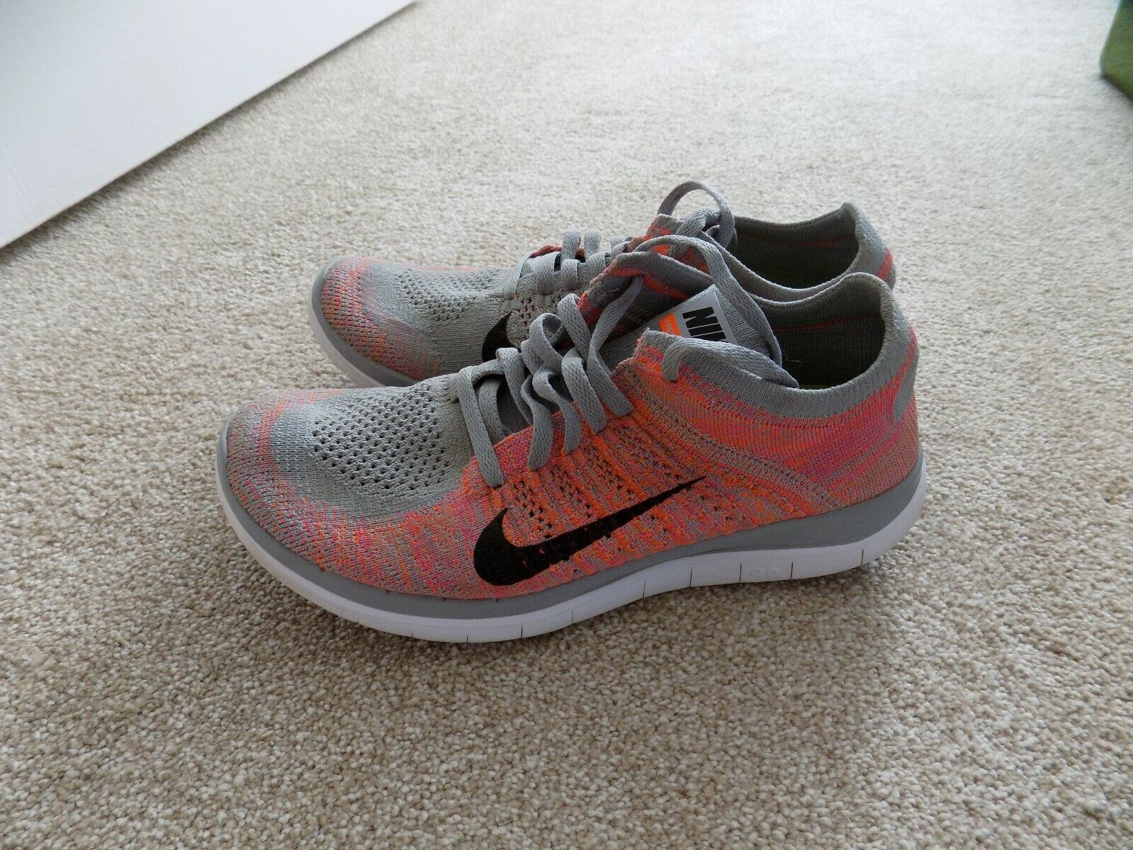 check out 581f0 f7103 WOMENS 7.5 NIKE FREE 4.0 FLYKNIT RUNNING SHOES WOLF GREY PINK BLACK WHITE  631050