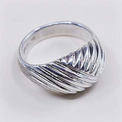 Size 7 vintage Sterling silver handmade ring stamped 925 modern 925 silver statement ring
