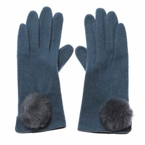 Ladies-Molly-Petrol-Blue-Wool-Mix-Gloves-with-Grey-Pom-Poms-One-Size