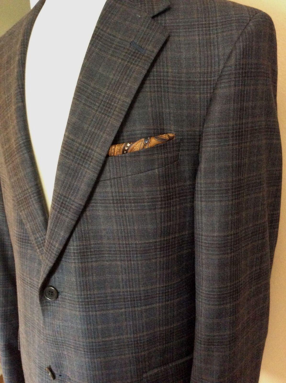 Daniel Cremieux Grau Shadow Plaid  Sports Coat In A Soft Lux 100% Wool 41R