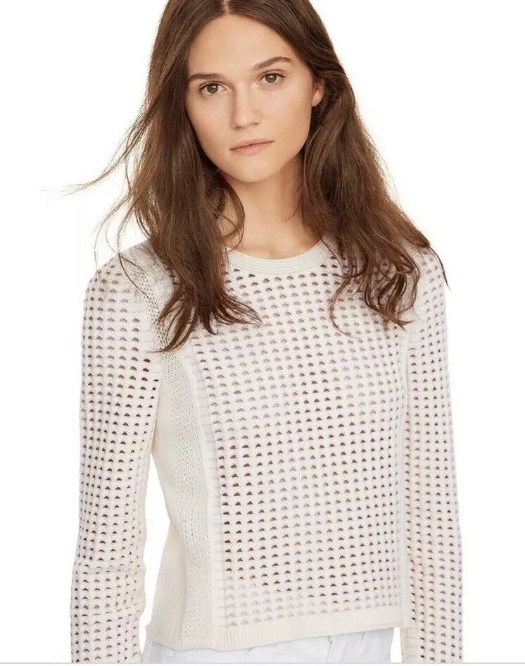 NWOT NWOT NWOT Tory Burch Pink Creme Honeycomb Sweater Petite Small 707be5