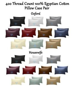 400-TC-Thread-Count-100-Egyptian-Cotton-Pillow-Case-Pair-Housewife-Oxford