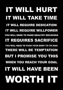 Details About Inspirational Motivational Sports Quote Sign Poster Print It Will Hurt