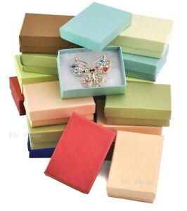 Details About Lot Of 20 Embossed Fiber Cotton Filled Boxes Jewelry Gift Boxes Earring Boxes