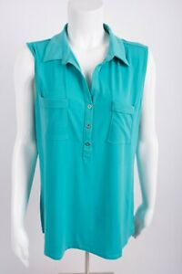 New-York-amp-Company-Women-039-s-Blouse-Shirt-XL-Aqua-Blue-Collared-Sleeveless-Stretch