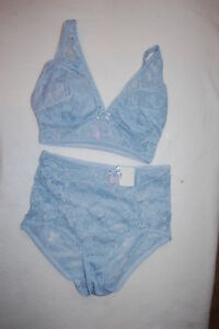 Womens BABY BLUE LACE PULLOVER BRA   HIGH WAIST PANTIES SET Padded ... b0b8719c4