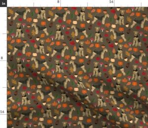 Dog Dogs Autumn Pet Dog Dog Breed Airedale Spoonflower Fabric by the Yard
