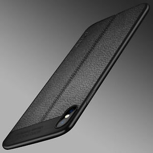 For iPhone X XS MAX XR Luxury Genuine PU Leather Soft TPU Shockproof Case Cover