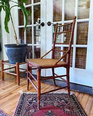 Vintage Faux Bamboo Wood Chair With Cane Seat Ebay