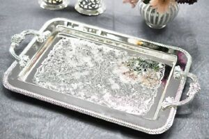 Vintage-Silver-Plated-Tray-With-Handles-Plain-Side-Design-Gift-SALE
